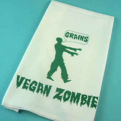 Organic Cotton Hand Printed Tea Towel - Vegan Zombie