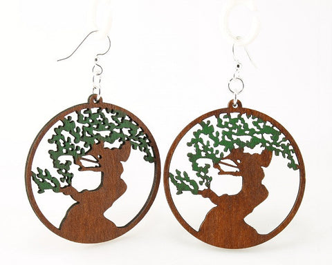 Wood Earrings- Green Bonsai Tree