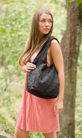 Embroidered Black Felted Cotton Hobo Bag