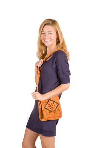 Nepali Orange Cotton Passport Shoulder Bag