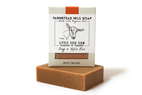 Little Seed Farm Goat Milk Soap - Clay and Kefir Face and Body Bar