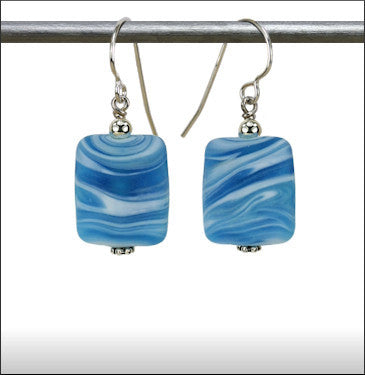 Recycled Glass Hurricane Earrings - Aqua with White Swirls