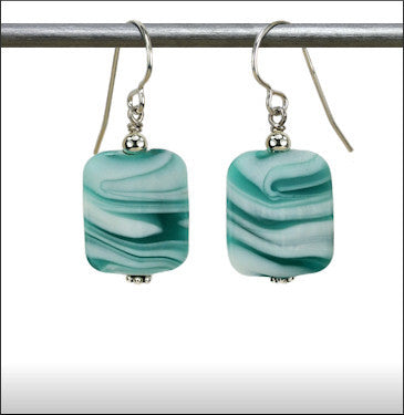 Recycled Glass Hurricane Earrings - Turquoise with White Swirls
