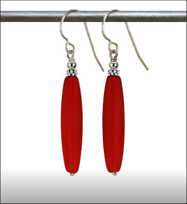 Recycled Glass Long Drop Earrings - Red