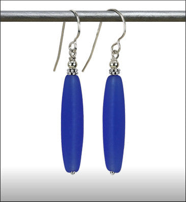 Recycled Glass Long Drop Earrings - Cobalt Blue