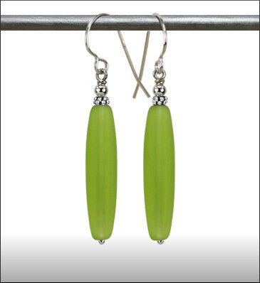 Recycled Glass Long Drop Earrings - Sea Green