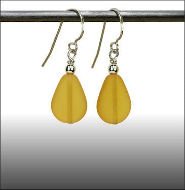 Recycled Glass Rain Drop Earrings - Topaz