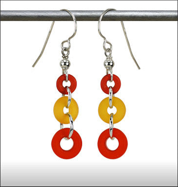 Recycled Glass Rings and Things Earrings - Orange, Yellow and Red