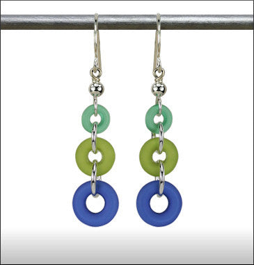 Recycled Glass Rings and Things Earrings - Teal, Green and Cobalt