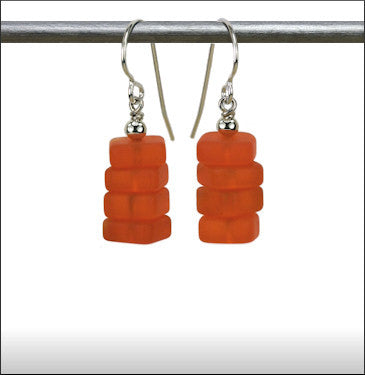 Recycled Glass Stax Earrings - Tangerine