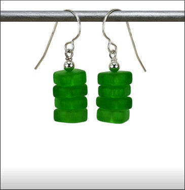 Recycled Glass Stax Earrings - Deep Green