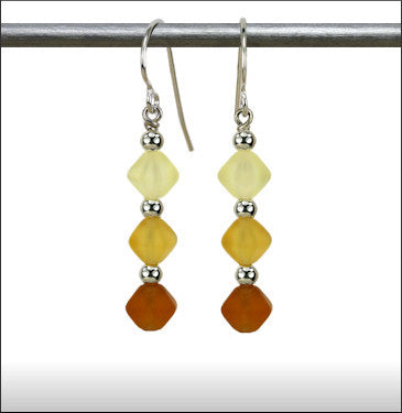 Recycled Glass Triad Earrings - Amber Blend
