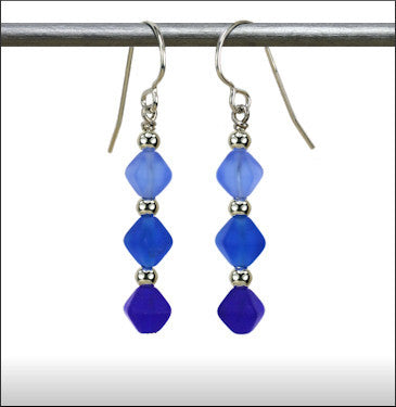 Recycled Glass Triad Earrings - Blues Blend