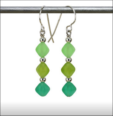 Recycled Glass Triad Earrings - Green Blend