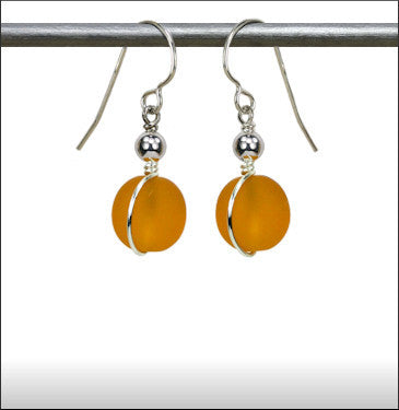 Recycled Glass Wrap Earrings - Topaz