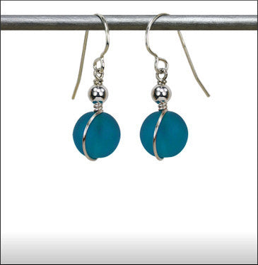 Recycled Glass Wrap Earrings - Aquamarine