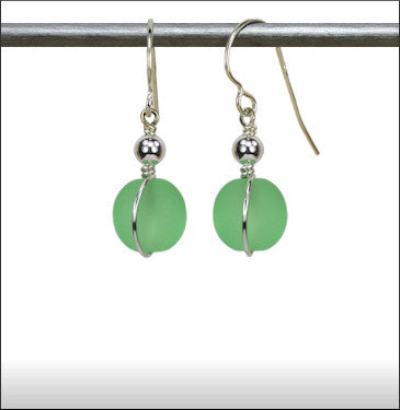 Recycled Glass Wrap Earrings - Pale Green