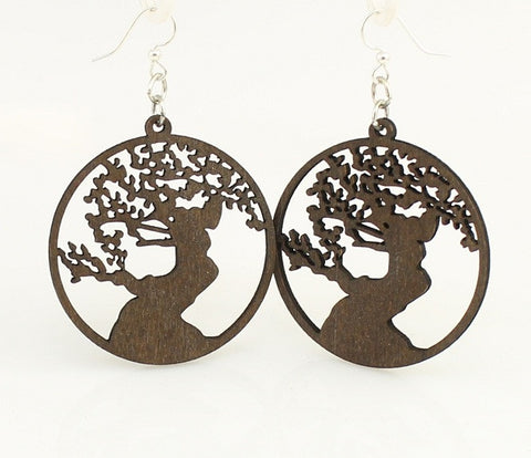 Wood Earrings- Bonsai Tree