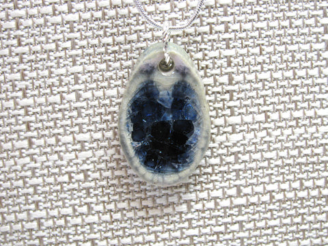 Handcrafted Artisan Recycled Glass and Pottery Necklace - Amethyst and Indigo