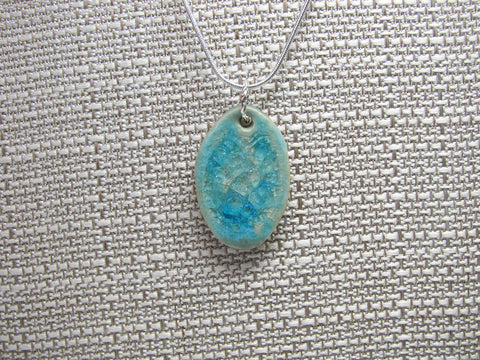 Handcrafted Artisan Recycled Glass and Pottery Necklace - Tropical Waters