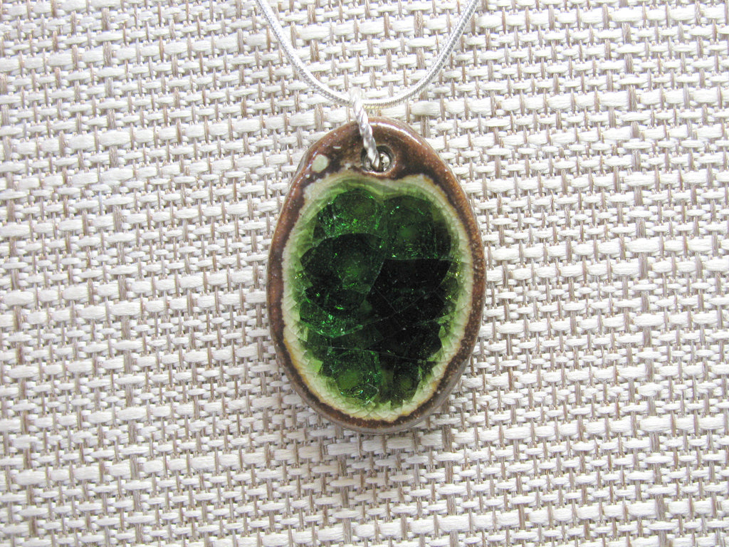 Handcrafted Artisan Recycled Glass and Pottery Necklace - Forest Green