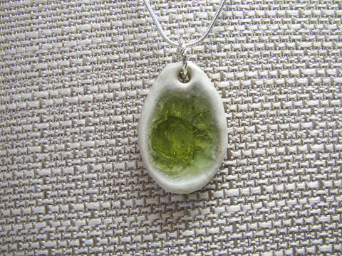 Handcrafted Artisan Recycled Glass and Pottery Necklace - Spring Grass