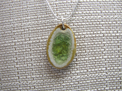 Handcrafted Artisan Recycled Glass and Pottery Necklace - Amber and Lime
