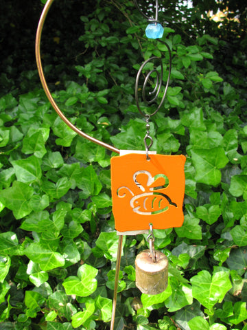 Garden Ornament Chime - Reclaimed Metal - Happy Honeybee