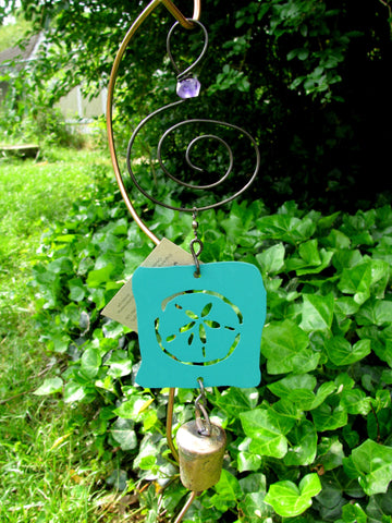 Garden Ornament Chime - Reclaimed Metal - Sand Dollar