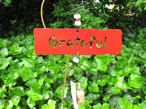 Garden Affirmation Chime - Reclaimed Metal - Grateful