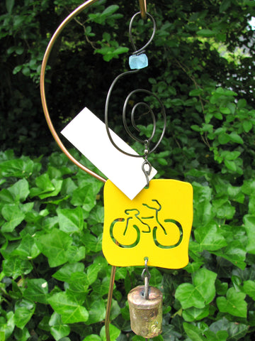 Garden Ornament Chime - Reclaimed Metal - Bicycle