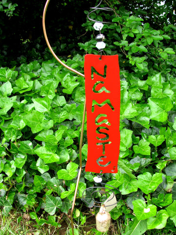 Garden Affirmation Chime - Reclaimed Metal - Namaste