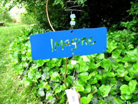 Garden Affirmation Chime - Reclaimed Metal - Imagine