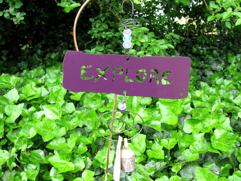 Garden Affirmation Chime - Reclaimed Metal -  Explore