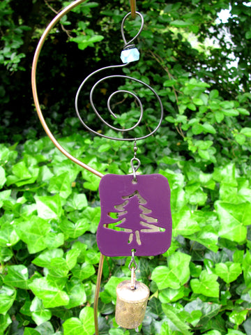 Garden Ornament Chime - Reclaimed Metal - Purple Fir