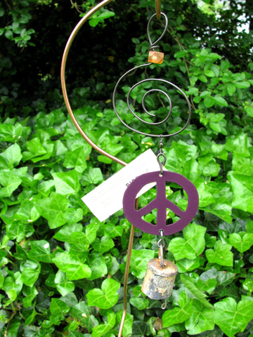 Garden Ornament Chime - Reclaimed Metal - Peace