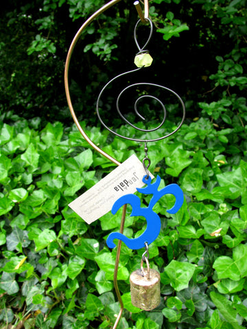 Garden Ornament Chime - Reclaimed Metal - Blue Om