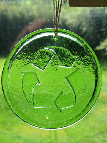 Recycled Glass Suncatcher - Reduce, Reuse, Recycle (Choose Your Color)