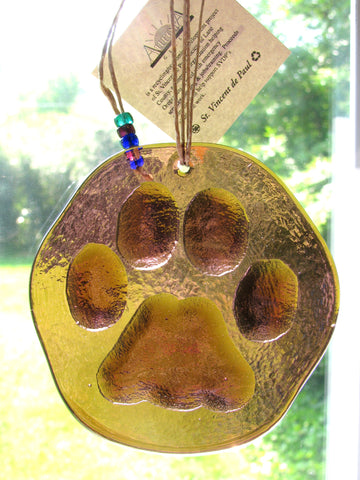 Recycled Glass Suncatcher - Paw Print (Choose Your Color)