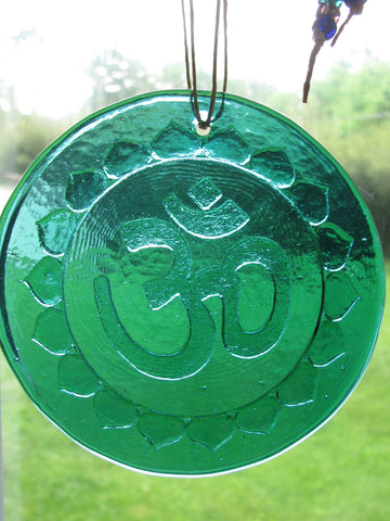 Recycled Glass Suncatcher - Om (Choose Your Color)