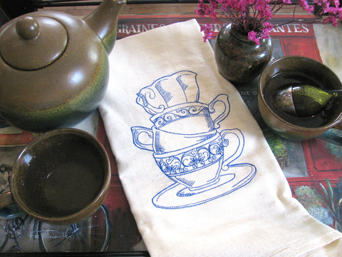 Embroidered Tea Towel by Ecotopia- Teacup Tower - Choose Your Color
