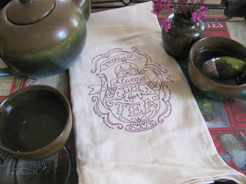 Embroidered Tea Towel by Ecotopia- Always Time For Tea - Choose Your Color
