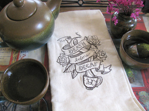 Embroidered Tea Towel by Ecotopia- Death Before Decaf - Choose Your Color