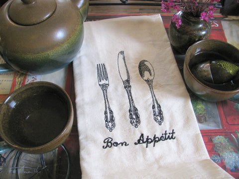 Embroidered Tea Towel by Ecotopia- Bon Appetit - Choose Your Color