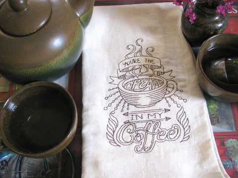 Embroidered Tea Towel by Ecotopia- Cream in my Coffee - Choose Your Color