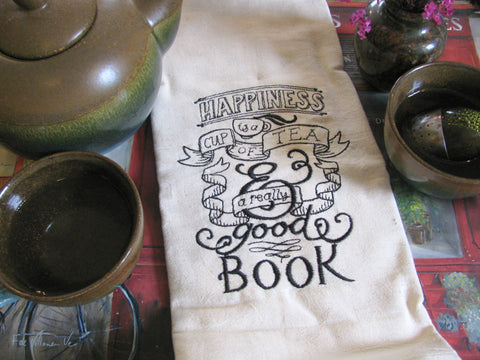 Embroidered Tea Towel by Ecotopia- Tea, Book, Happiness- Choose Your Color