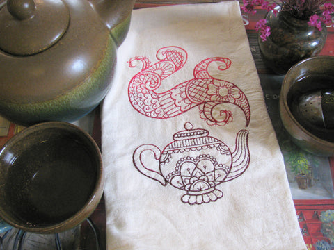 Embroidered Tea Towel by Ecotopia- Mendhi Teapot - Choose Your Color