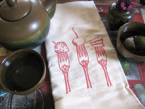 Embroidered Tea Towel by Ecotopia- Sweet Bites - Choose Your Color
