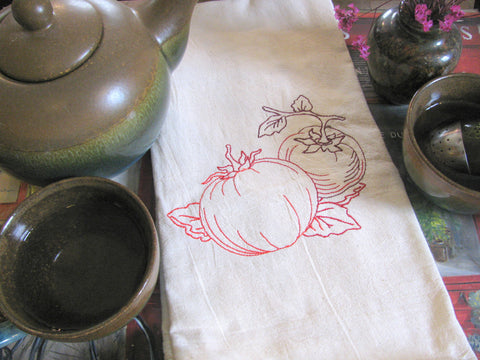 Embroidered Tea Towel by Ecotopia- Garden Tomatoes - Choose Your Color