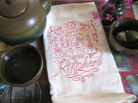 Embroidered Tea Towel by Ecotopia- Can't Stand the Heat - Choose Your Color